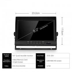 """Monitor Quadview para cámaras de maquinaria pesada 9"""" Limatics - 3"""