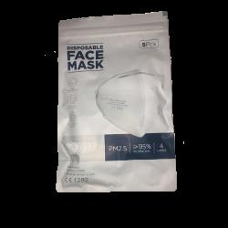 Pack 5 unidades Mascarilla Facial con certificación KN95/FFP2 (5 unidades) Dutens - 2